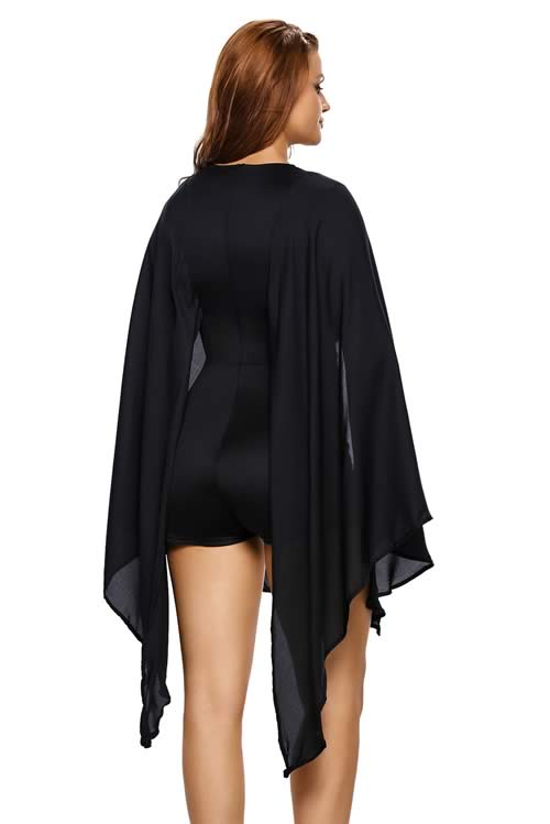 Low V Neck Gold Button Cape Romper in Black