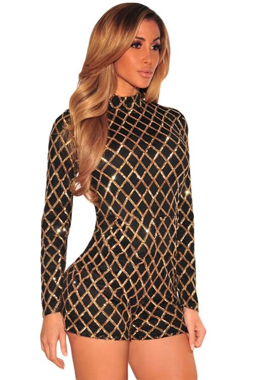 Diamond Sequin Long Sleeve High Neck Romper in Black