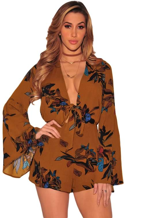 Floral Printed V Neck Bell Sleeve Romper in Brown