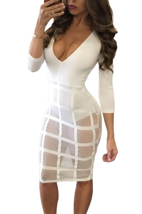 Caged Skirt V Neck Long Sleeve Romper Dress in White