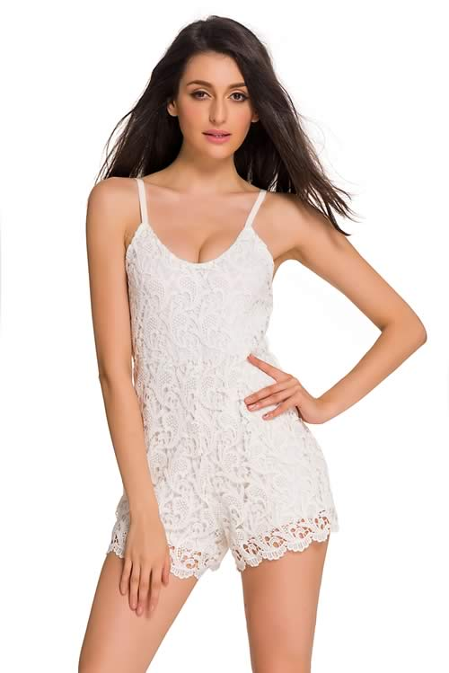 Sleeveless Spaghetti Strap Embroidered Lace Romper in White