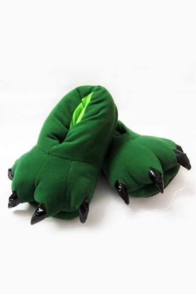 Green Furry Claws Cartoon Cotton Shoes