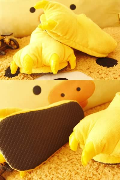 Yellow Furry Claws Cartoon Cotton Shoes